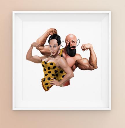 The Gym Couple Logo Illustration