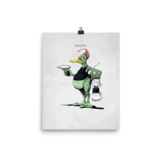 Space Duck (Animal Illustration) Art Print Poster