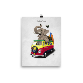 Pack the Trunk (Animal Illustration) Art Print Poster