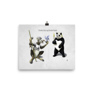 Donkey Xote and Sancho Panda (Animal Illustration) Art Print Poster